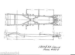 1934 35 Cadillac 452-D NOS Frame Dimensions Front Axle Wheel Alignment Guide