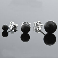 Sale Men's 925 Sterling Silver Black Round Onyx Single Stud Earring 4mm-8mm NEW
