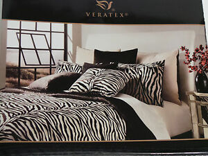 "ZIA ZEBRA NEW VERATEX EUROPEAN EURO PILLOW SHAM 26""X26"" QUEEN KING BLACK CREAM"