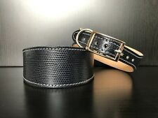S, M - Leather Dog Collar LINED Greyhound Whippet Lurcher NAVY BLUE SNAKE SKIN