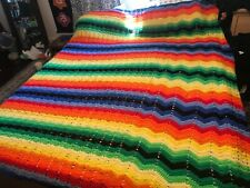 Vintage Large King Size hand made Afghan. Made in the 1970's. 120' X 96