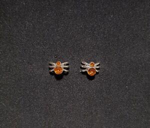 New Claire's Women's Girls Halloween Earrings Spider Silver Orange Stud