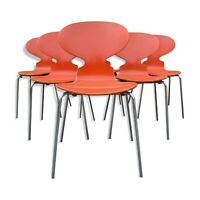Série de 6 chaises d'Arne Jacobsen de Fritz Hansen Design Vintage Orange