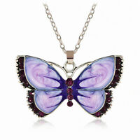 Women Fashion Jewelry Enamel Butterfly Crystal Silver Pendant Necklace Chain New