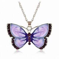 Fashion Women Enamel Butterfly Crystal Pendant Silver Chain Necklace Jewelry