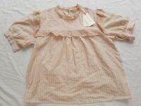 Solitaire Ladies linen cotton Loose crochet trim peach cream Summer Top XL BNWT