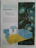 1952 Briggs Sky Blue Beautyware bathroom design bath tub toilet sink vintage ad