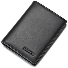 HISCOW Credit Card Holder Genuine Leather with 20 Clear ID Business Card Sleeves