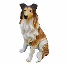 "Long Haired Collie Dog Design Toscano Exclusive 15"" Hand Painted Dog Statue"