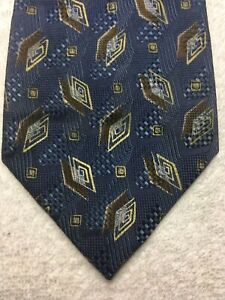 ZEGNA MENS TIE BLUE WITH BROWN AND GOLD 4 X 58