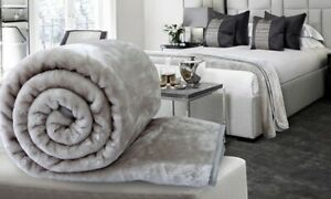 Silver Large Luxury Faux Fur Throw Sofa Bed Mink Soft Warm Blanket Double & King