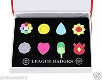 Cosplay Poke Gym Badges in box Indigo League Set 8pcs Kanto Badge Pin