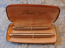"""Parker 51 """"Flighter"""" Fountain Pen and Pencil Set - Stainless Steel"""