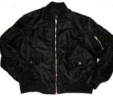 H&M Bomber Jacket Mens Size Large Black Full Zip Casual Jacket