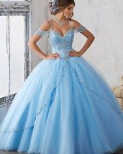 Blue Tulle Quinceanera Dresses Crystal Beading Sweet 16 Dresses Prom Ball Gown