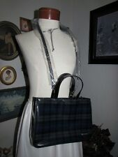 vtg NWT Ralph Lauren Black Blue Tartan Plaid Patent Leather Handbag Shoulder Bag