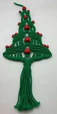"Vintage Macrame Christmas Tree Wall Hanging Decor Handmade Red Wood Beads 8""x20"""