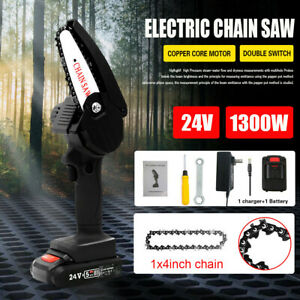 550W Cordless Electric Chainsaw Mini Wood Cutter Rechargeable Saw Woodworking UK
