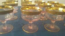 ANTIQUE CHAMPAGNE/COMPOTE GLASSES - GOLD BANDS  (12)