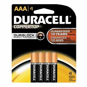 DURACELL - CopperTop AAA Alkaline Batteries - 4 Batteries