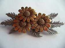 "Vintage Signed JJ ""Silver/Bronze pewter Spread of Daisies"" Brooch/Pin"