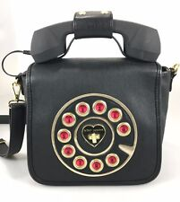 Betsey Johnson Handbag Call Ring Me Black Telephone Receiver Phone Crossbody Bag