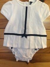 NWT Janie and Jack Lemon Grove 2 Piece Dress Girls White w/Navy Bows 3-6 Months