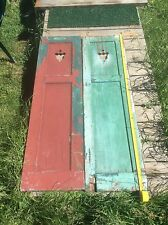 Primitive Country Farm Shutter , Tulip Cut Out Pattern, Green One Side Red Other