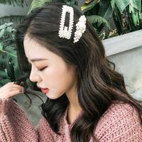 Fashion Women Pearl Hair Clip Snap Barrette Stick Hairpin Hair Accessories Nice