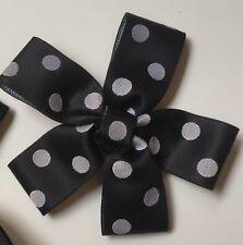 Alannah Hill Black & Silver/Grey Polka Dot Bow Hair Clip