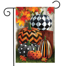 "Patterned Pumpkins Autumn Garden Flag Fall Leaves 12.5"" x 18"" Briarwood Lane"