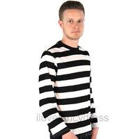 ADULT BLACK WHITE LONG SLEEVE STRIPED TOP FANCY DRESS COSTUME FRENCH BURGLAR