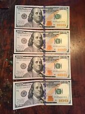 4 Crisp $100 Dollar Bill from 2017 Consecutive Serial Numbers