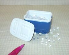 Miniature Blue Igloo Cooler w/Top, Loose Ice Cubes! for DOLLHOUSE 1/12 Scale