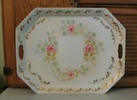 Lg Hand Painted Toleware TRAY Vintage Shabby Serving White w Gold & Flowers