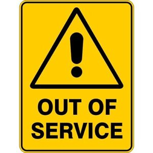 OUT OF SERVICE - SELF ADHESIVE STICKER / DECAL / SIGN | HEALTH & SAFETY