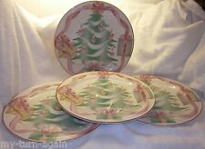 Vintage 1989 Sango Home for Christmas Pink Bows Candles Dinner Plate x 4