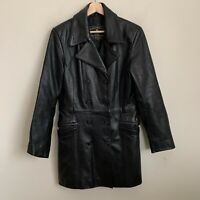 Express Womens Coat Black Leather Double Breasted Pockets Lined Size M