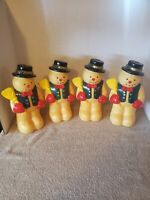 4 Vtg Dynagood 1997 Xmas Snowman w/ Broom Blow Mold Figurine Light Toppers Only
