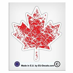 "100mm-4"" Distressed Canadian flag symbol maple leaf Laminated Decal Sticker"