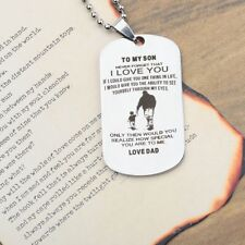 To My Son Stainless Steel Charm Pendant Necklace Key Chain Best Gift for Family