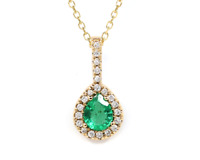 Natural Pear cut Emerald and Diamond 14K Solid Gold Necklace Pendant and Chain