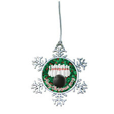 Bowling Ball Pins Snowflake Merry Christmas 2019 Silver Ornament Gift 300 Game