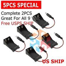 5pcs 2 Wires Dc 9v Cell Volt Battery Storage Clip Holder Box Case Cover T Model