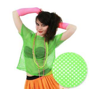 XL NEON GREEN MESH TOP Women Fishnet Festival Party Wear Bright 80s Short Sleeve
