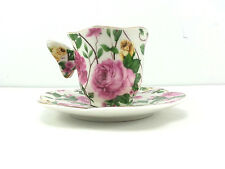 Miniature Cup and Saucer Butterfly Handle Roses Gold Trim Collector Vintage