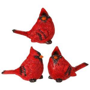 "Raz Imports Cardinal Birds Set of 3 Tabletop Mantle Christmas Decor 3.25"""