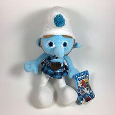 "Gutsy Smurf Plush 13"" Stuffed Animal The Smurfs Movie Kilt Irish Sideburns Blue"