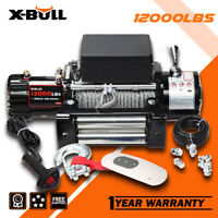 X-BULL Electric Winch 12000LBS 12V Towing Truck New Remote Steel Cable 4WD
