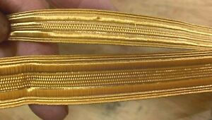 "Vintage Military Tape Gold 1/2"" - 3/4"" Metallic Trim 1yd Made in France"